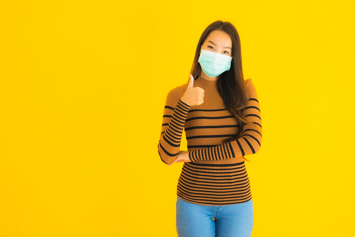 Portrait Beautiful Young Asian Woman With Mask In Many Action Fo