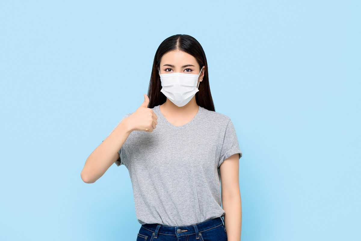 Young Asian Woman Wearing Face Mask Protecting Coronavirus And A
