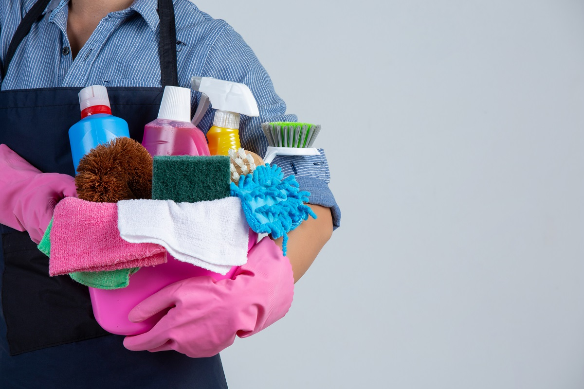Young Girl Is Holding Cleaning Product, Gloves And Rags In The B
